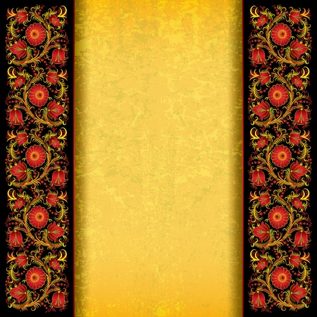 abstract yellow grunge background with spring floral ornament