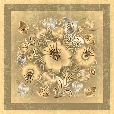 spotted flower: abstract beige grunge background with spring floral ornament