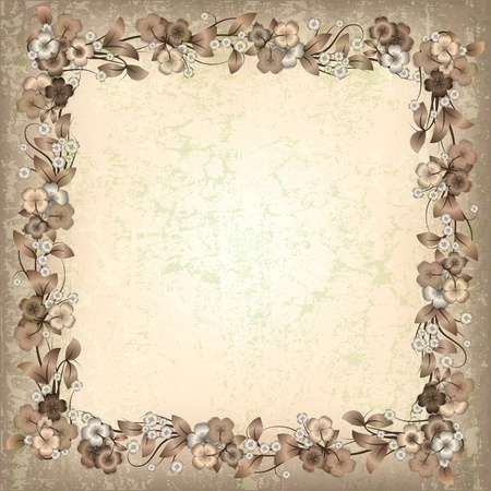 spotted flower: abstract beige grunge background with spring flowers Illustration