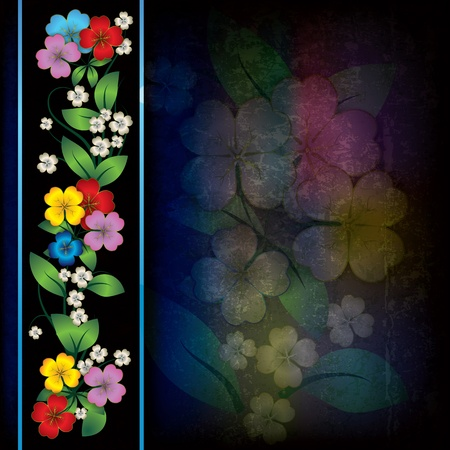 abstract dark grunge background with color spring flowers Stock Vector - 11978038