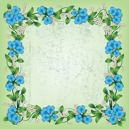 abstract green grunge background with spring flowers Vector