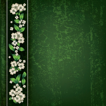 painting nature: abstract green grunge background with white spring flowers