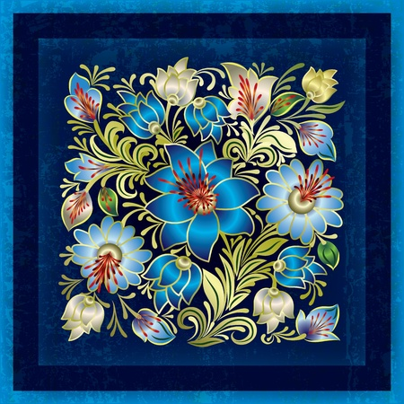 single color image: abstract grunge background with blue spring floral ornament Illustration