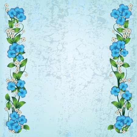 spotted: abstract grunge background with blue spring flowers Illustration