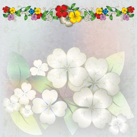 spotted flower: abstract grunge background with color spring flowers Illustration