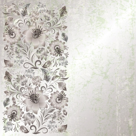 abstract grunge background with spring floral ornament on grey Çizim