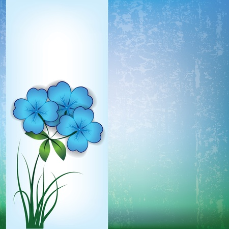 spotted flower: abstract grunge background with spring flowers on blue