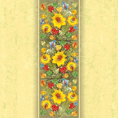 abstract grunge background with spring yellow floral ornament Vector