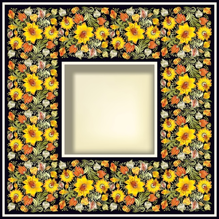 abstract grunge background with yellow spring floral ornament Vector