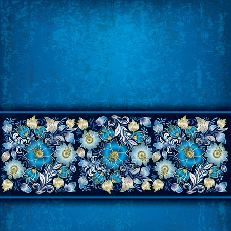 single color image: abstract grunge blue background with blue spring floral ornament