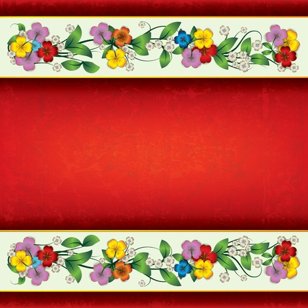 single color image: abstract red grunge background with color spring flowers