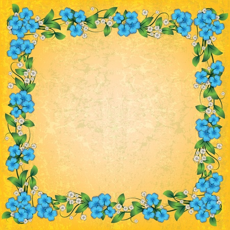 spotted flower: abstract yellow grunge background with blue spring floral ornament Illustration