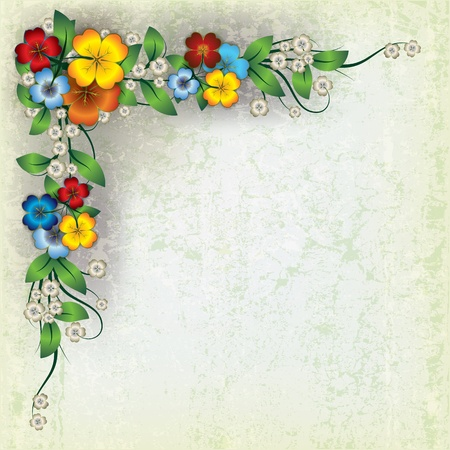 abstract grunge grey background with spring flowers Vector