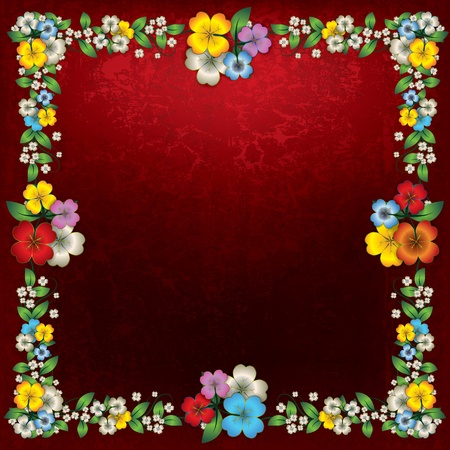 spotted flower: abstract grunge red background with color spring flowers