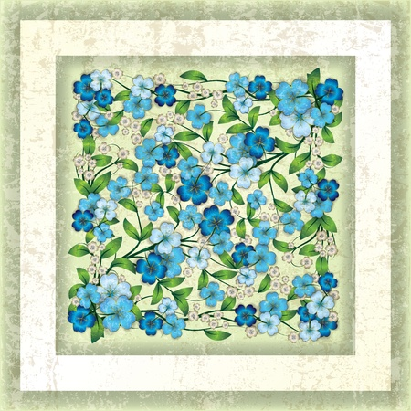swirly design: abstract green grunge background with blue spring flowers