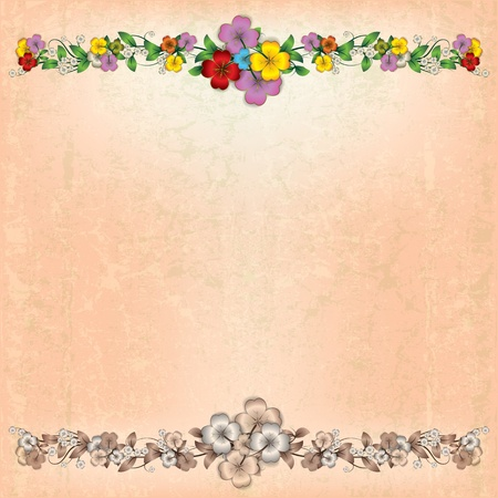 spotted flower: abstract grunge beige background with spring flowers Illustration