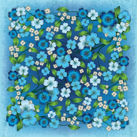 abstract grunge blue background with blue spring flowers Vector