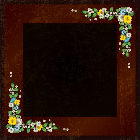 spotted flower: abstract grunge dark brown background with spring flowers