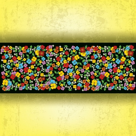grunge floral: abstract grunge yellow background with spring flowers