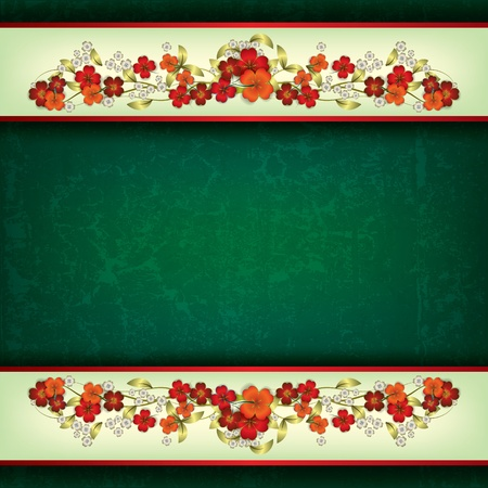 abstract grunge green background with red spring flowers Vector