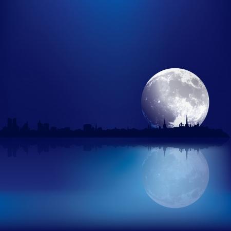 reflectie water: abstracte achtergrond met een silhouet van Tallinn en de maan