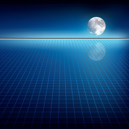 abstract blue background with moon and horizon Stock Illustratie