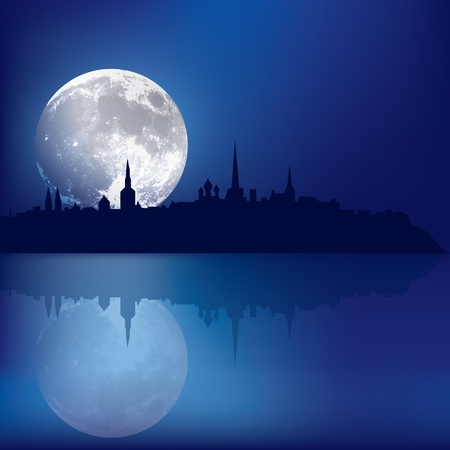 abstract blue background with silhouette of Tallinn and moon Çizim