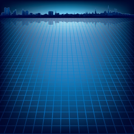 abstract dark blue background with silhouette of city Stock Illustratie