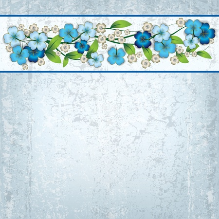 abstract grunge grey background with blue spring flowers Vector