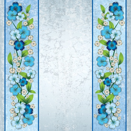 abstract grunge light background with blue spring flowers Çizim