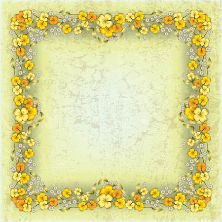 swirly design: abstract grunge yellow background with spring flowers