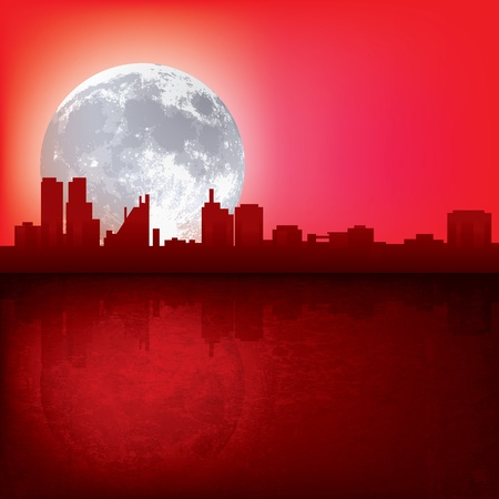 abstract red background with silhouette of city and moon Stock Vector - 12837554