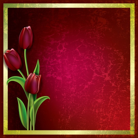 abstract floral grunge background with red tulips Vector