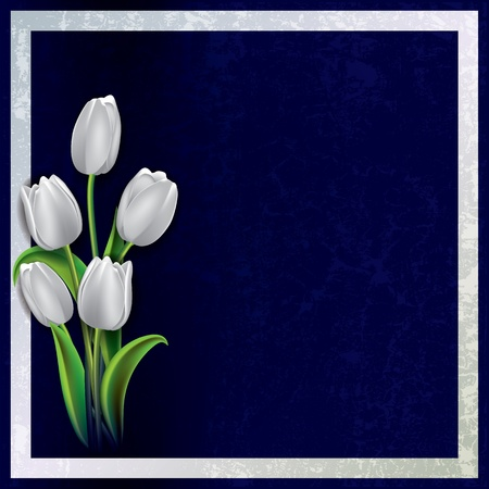 spotted flower: abstract floral grunge background with white tulips on blue