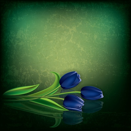 abstract green grunge background with blue tulips