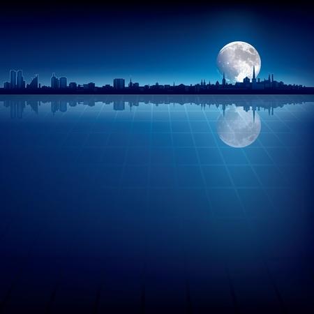 resumen de antecedentes con la silueta de la ciudad y la luna grande