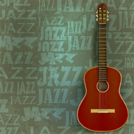 abstract green grunge background with classical guitar Vector
