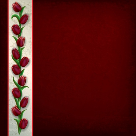single color image: abstract grunge dark red background with tulips