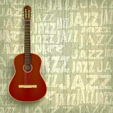 classical guitar: abstract grunge jazz background with classical guitar Illustration