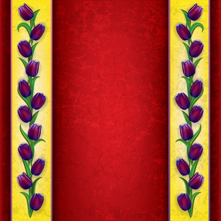 abstract grunge red background with purple tulips Vector