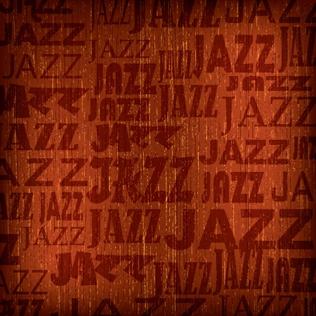 jazz: abstract wooden brown background with word jazz