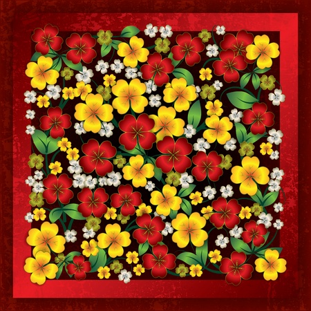 abstract floral ornament on red grunge background Vector