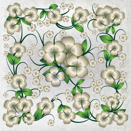 abstract grey grunge ornament with white spring flowers Stock Vector - 13179990
