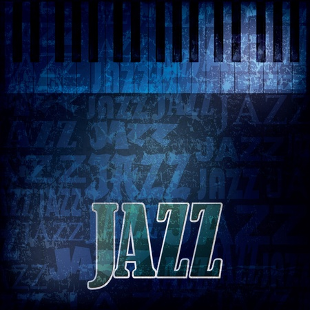 jazz music: abstract grunge blue background with word jazz