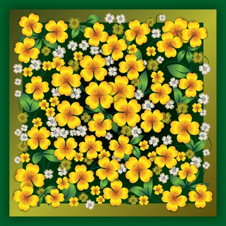 green grunge background: abstract yellow floral ornament on green grunge background Illustration