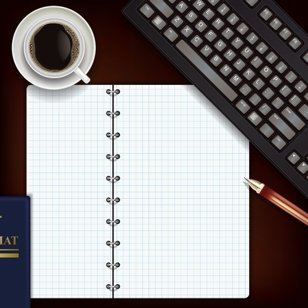 mug shot: office desk with coffee keyboard and notepad Illustration