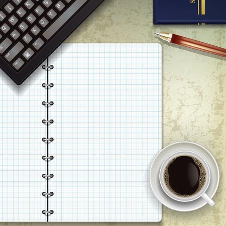 офис: офисный стол с клавиатурой кофе и блокнот