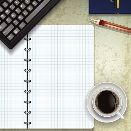 home office desk: office desk with keyboard coffee and notepad Illustration