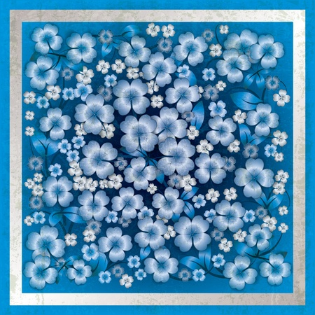 spotted flower: abstract blue grunge background with floral ornament