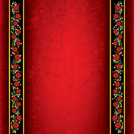 backgrounds texture: abstract red grunge background with spring flowers Illustration